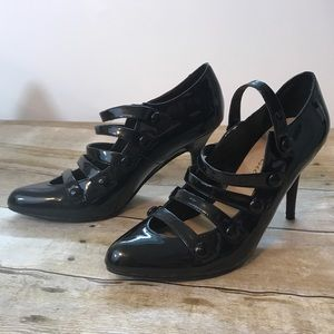 Black Strappy heels by NY Transit. Size 8